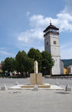 The Town tower, city Roznava, Slovakia. The Town tower was built between 1643 and 1654, in the middle of the square royalty free stock photo