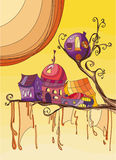 Town on the tree. Small town on the tree. Vector illustration Royalty Free Stock Photos