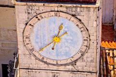 Town of Trogir main square clock tower closeup view Stock Photography