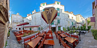 Town of Trogir square panorama royalty free stock photography