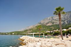 Town Tucepi with sea, palm tree, stones in front and mountain Biokovo in background. View of Tucepi with sea, palm tree, stones in front and mountain Biokovo in Stock Image