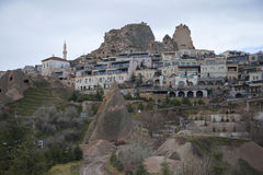 The town of Uchisar cloudy january day. Cappadocia Stock Image