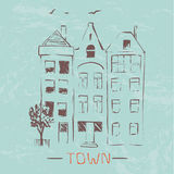 Town. Vector hand-drawn sketch. Stock Photography