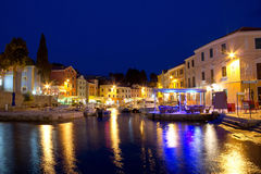 Town of Veli Losinj waterfront evening. Promenade, Croatia Royalty Free Stock Image