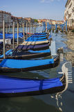Town of Venice. Gondolas anchored in a row on Grand Canal Royalty Free Stock Image