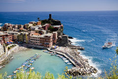 Town of Vernazza. View of the town of Vernazza in the Cinque Terre on the coast of the Riviera in Italy Stock Images