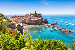 Town of Vernazza in sunny day. Small town in Chinque Teree natioanal park stock image