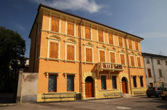 Town Verona - typical architecture. Typical buildings next to the church in Verona - Italy Stock Images