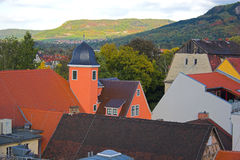 Town view. Panoramic view of buildings, trees, hills from tower in Jena, Germany Royalty Free Stock Image
