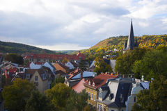 Town view. Panoramic view of buildings, trees, hills from tower in Jena, Germany Royalty Free Stock Images