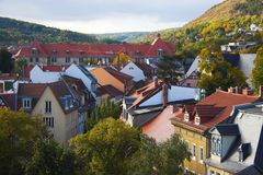 Town view. Panoramic view of buildings, trees, hills from tower in Jena, Germany Stock Images