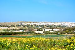 Town view and farmland, Golden Bay. Stock Photo