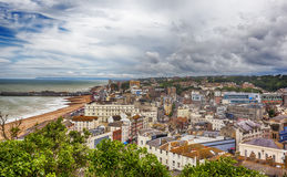 Town view at Hastings Town Center with the Pier, England Royalty Free Stock Photo