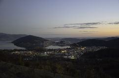 Town view from the hill at sunset Royalty Free Stock Image