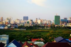 Town view over Phnom Penh, Cambodia. Town view over Phnom Penh, Cambodia from the roof top Stock Image