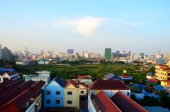 Town view over Phnom Penh, Cambodia. Town view over Phnom Penh, Cambodia from the roof top Stock Photography