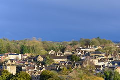 Town View. View of a Picturesque English Town Seen from a High Vantage Point - Namely the Historic Bradford on Avon in Wiltshire England Stock Photography