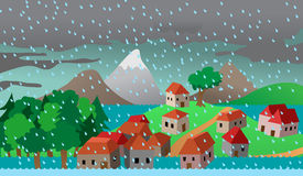 Town or village houses in flood. Cartoon vector illustration, natural disaster,  insurance business Stock Image