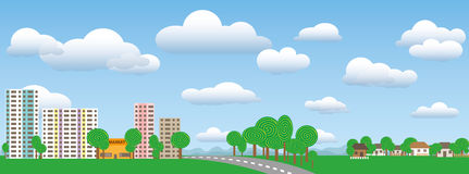 Town and village landscape in nature on a sunny day. Urban and rural landscape in nature on a sunny summer day Royalty Free Stock Image