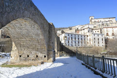 Town of Villoslada de Cameros in a snowy day, La Rioja, Spain Royalty Free Stock Images