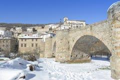 Town of Villoslada de Cameros in a snowy day, La Rioja, Spain Royalty Free Stock Photos