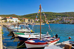 Town of Vinjerac pictoresque harbor. Dalmatia, Croatia Stock Photography