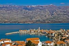 Town of Vinjerac and Velebit mountain Stock Photos
