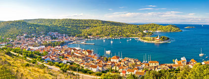 Town of Vis panorama from hill Royalty Free Stock Images
