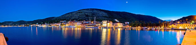 Town of Vis waterfront evening panorama Royalty Free Stock Photos