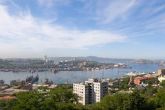 Town Vladivostok. Russia.Bay a Zolotoy Rog(gold horn). Above city smog.September 2006 Stock Images