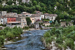 The town of Vogue on the River Ardech Stock Photography