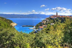 Town of Vrbnik green landscape Royalty Free Stock Photo