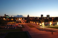 Town walking bridge Royalty Free Stock Photo