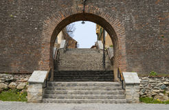 Town wall entrance in Sibiu Stock Photo