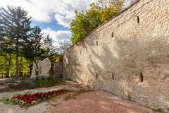 Town wall in Fertorakos, Hungary. Built in the 16th century. This is the only settlement in Hungary smaller than a town that had a wall around to protect it royalty free stock photography
