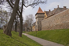 Town wall and tower in Sibiu medieval construction Royalty Free Stock Photos
