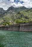 Town walls surround the Old Town of Kotor in Montenegro stock images
