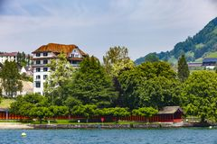 Town Weggis on Lucerne lake Royalty Free Stock Images