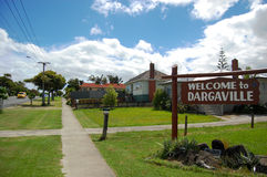 Town wellcome road sign. Dargaville, New Zealand Stock Image