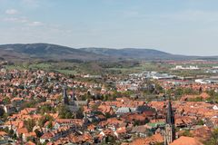 Town Wernigerode with church and houses. Town Wernigerode with church and many houses in the Harz mountains Stock Photo