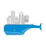 Town on whale. Water city. Modern metropolis on back of a giant. Blue fish. Buildings and skyscrapers. Vector Logo for construction and real estate Stock Images