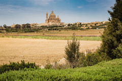 The town Xewkia on the Maltese islands Gozzo. View of the town Xewkia on the Maltese islands Gozzo in the Mediterranean sea Royalty Free Stock Image