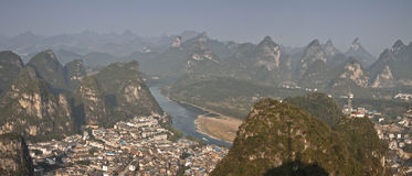The town of yangshuo,view from tv tower.guangxi province Stock Images