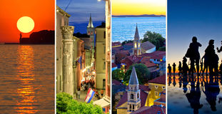 Town of Zadar evening and sunset travel collage Royalty Free Stock Photo