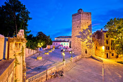 Town of Zadar five wells square evening view Stock Photo