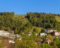 Town of Zug in Switzerland in springtime. View of the town of Zug in Switzerland in springtime. The picture was taken at the beginning of May Royalty Free Stock Image