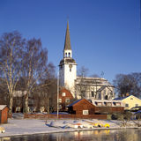 TownbyMariefred wintertime Royaltyfri Foto
