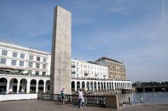 Towncanal Kleine Alster в Гамбурге - каменном мемориале Стоковые Изображения RF