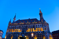 Townhall in Aachen, Germany. The townhall in the German city Aachen at the blue hour Royalty Free Stock Image