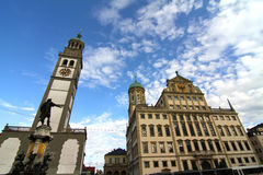 Townhall of Augsburg with St. Peter Stock Photography